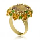 Золотое кольцо с кварцом и цитрином «Tesoro del Faraone»