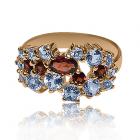Золоте кільце з гранатами і топазами «Antique»