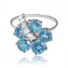 Золоте кільце з топазом «Luci fiore blu»