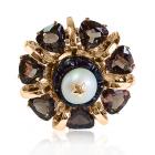 Золотое кольцо с раухтопазом  «Лоренцо Бернини»