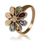 "Кольцо с бриллиантами и самоцветами ""Семицветик"""