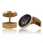 Золотые мужские запонки с эмалью «Патріот»