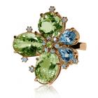 Золотое кольцо с хризолитом «Affascinante fiore»