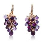 Золоті сережки з аметистами та діамантами «Іларія Сузе»