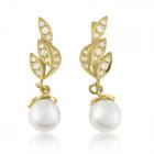 Золотые серьги с жемчугом  «Цветущий май»