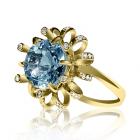 Золоте кільце з топазом і діамантами «Нерина де Труа»