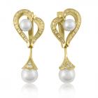 Золотые серьги с жемчугом  «Свадебное настроение»