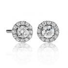 Золоті сережки з діамантами «Diamonds in the sky»