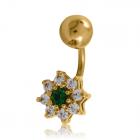 Золотой пирсинг с цветными камнями
