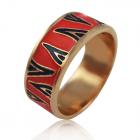 Золотое кольцо «Юдифь» c разноцветной эмалью