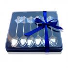 Подарочная упаковка синяя для набора ложек 6 шт.