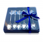 Подарункова упаковка синя для ложек 6 шт.