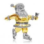 Серебряная статуэтка с позолотой «Санта Клаус с колокольчиком»