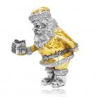 Серебряная статуэтка с позолотой «Санта Клаус с подарком»