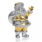 Серебряная статуэтка с позолотой «Санта Клаус с мешком»