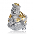 """Серебряная статуэтка с позолотой """"Санта Клаус раздающий подарки"""""""