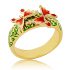 Золотое кольцо с эмалью «Мотылек»