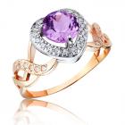 Золотое кольцо с аметистом и сердцем