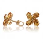 Золотые серьги-пусеты с цитринами «Анжела»
