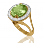 Золотий перстень з великим хризолітом «Нікозія»