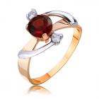 Золотое кольцо с гранатом  «Блики неба»
