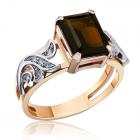 Золоте кільце з раухтопазом  «Модний вирок»