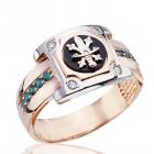 Золотий чоловічий перстень з смарагдами і діамантами