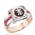 Золотой перстень с рубинами и бриллиантами - 3 Карата