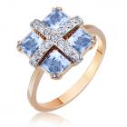 Золотое кольцо с голубыми топазами