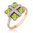 Золотое кольцо с хризолитами квадратное