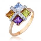 Золота каблучка з кольоровим камінням