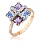 Золотий перстень з топазом та аметистом «Свято»