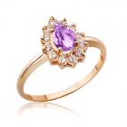 Золотое кольцо с аметистом и цирконами «Королевский шик»