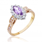 Золотое кольцо с аметистом  «Виктория»