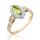 Золотое кольцо с хризолитом  «Виктория»