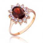 Золотое кольцо с гранатом «Ажур»