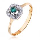 Золоте кільце зі смарагдом і діамантами «Королівська розкіш»