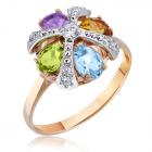 Золотое кольцо с цветными камнями
