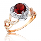 Золотое кольцо с гранатом в виде сердца