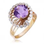 Золотое кольцо с аметистом «Санта»