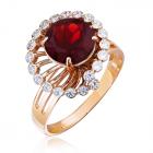 Золотое кольцо с гранатом «Санта»