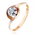 Золоте кільце з діамантом «Мій Париж»