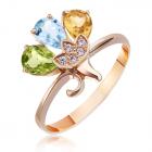 Золотое кольцо c цветными камнями