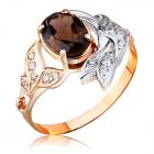 Золотое кольцо с раухтопазом «Корица»