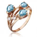 Золотое кольцо с тремя топазами  «Весеннее»