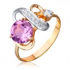 Золотое кольцо с аметистом и цирконами «Монокини»