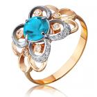Золотое кольцо с топазом и цирконием