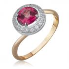 Каблучка із золота рожевий топаз