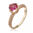 Золота каблучка з рожевим топазом