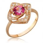 Каблучка із золота з рожевим топазом